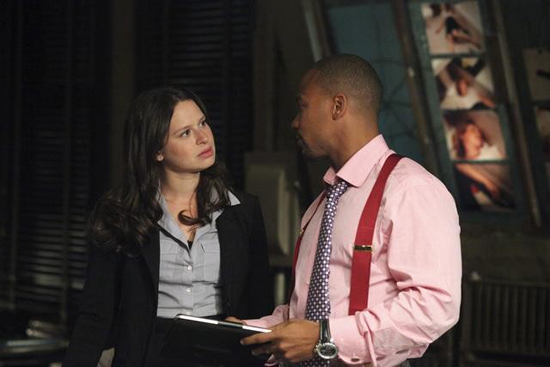 Katie Lowes and Columbus Short in Scandal.