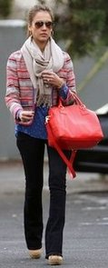 Jessica Alba in Colorful Jacket With Orange Bag