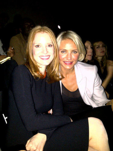Cameron Diaz and Jessica Chastain sat front row for Armani at Couture Fashion Week in January.  Source: Twitter User liviafirth