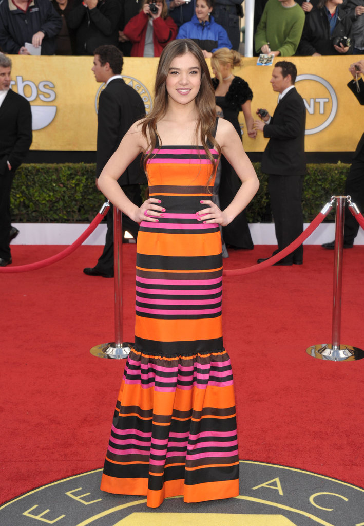 Newcomer Hailee Steinfeld wore a colorfully striped Prada gown in 2011.