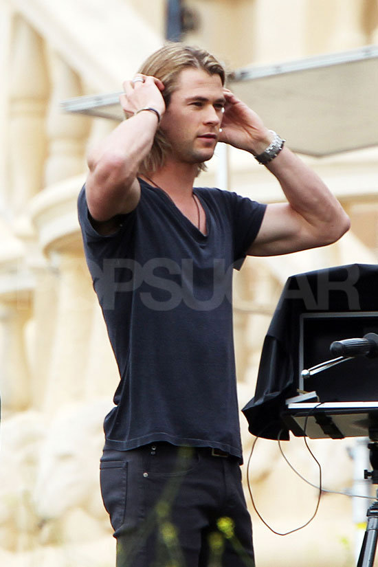 Chris showed off his massive muscles.