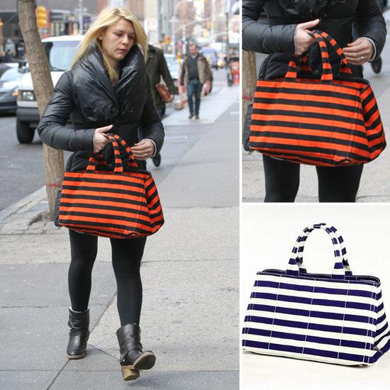 Claire Danes Orange and Black Striped Bag