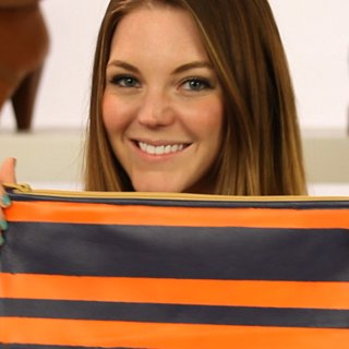 DIY Your Own Sporty, Striped Clutch Bag with Spray Paint: Watch Our Quick and Easy How-To Video