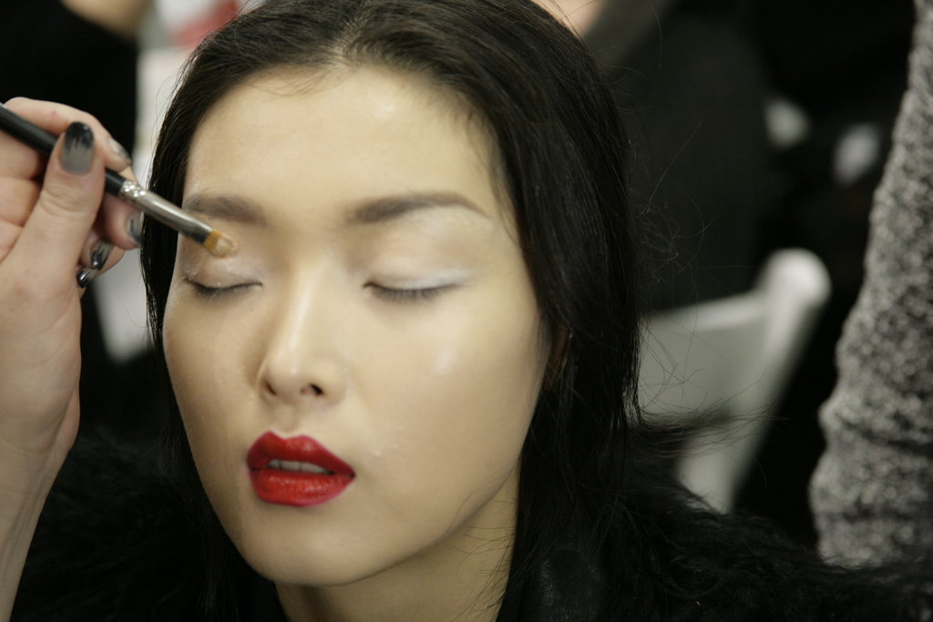 Lids were highlighted with a white liner, and were given a wash of cream shadow. Photo: Megan Holmes