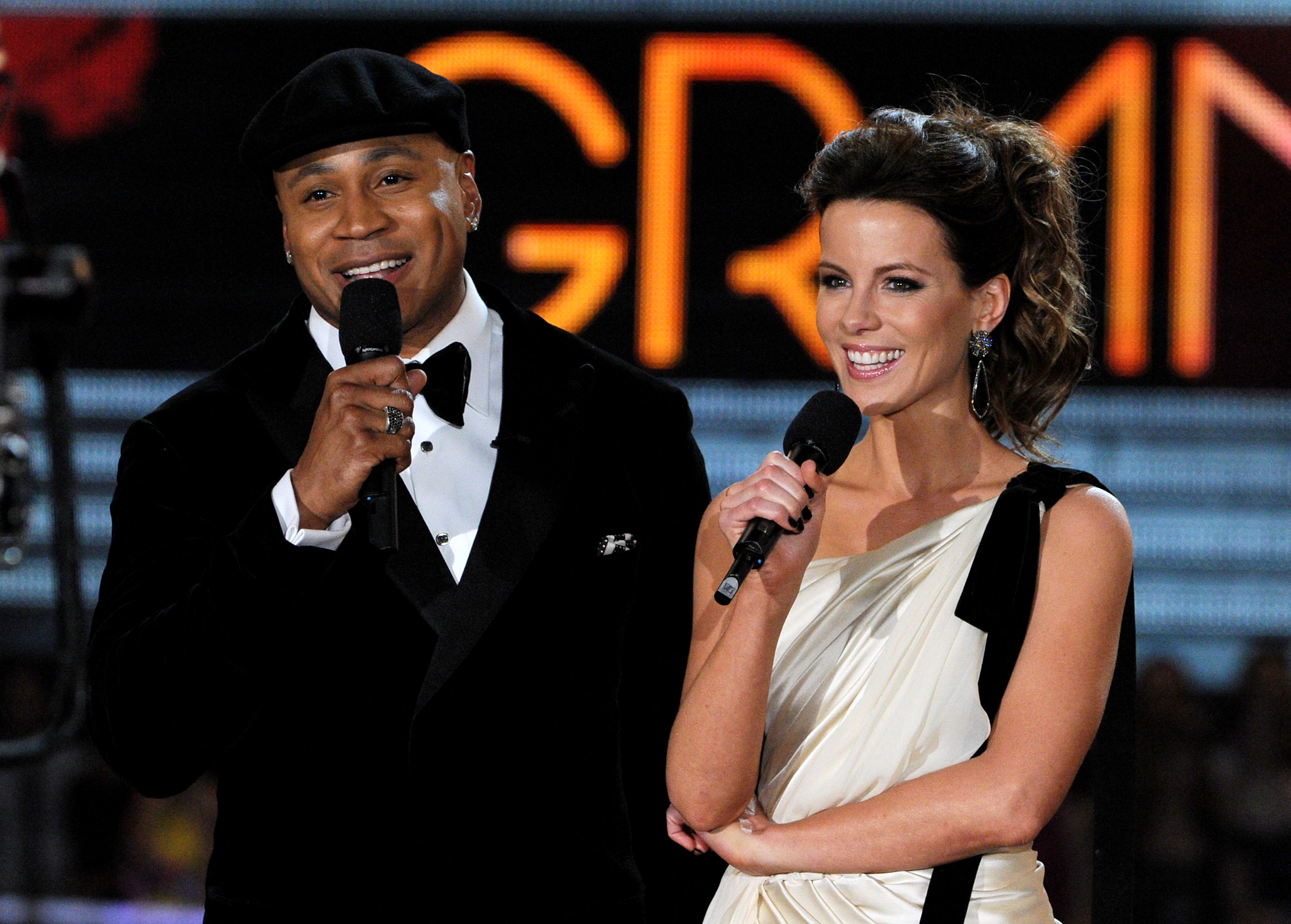 LL Cool J and Kate Beckinsale were onstage at the Grammys.