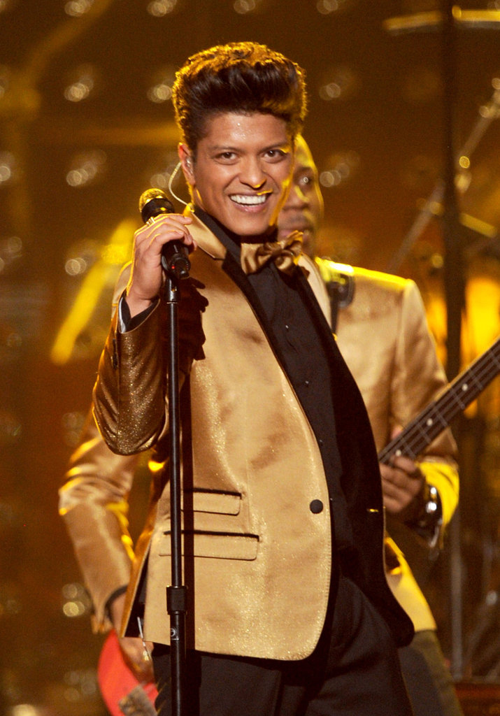 Bruno Mars flashed a bright smile to the crowd.