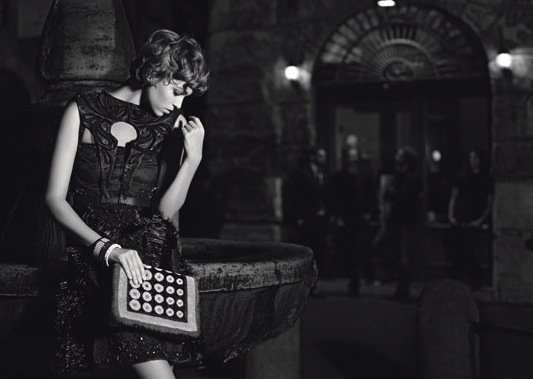 Arizona Muse starred in Fendi's black and white Spring campaign, photographed by Karl Lagerfeld.