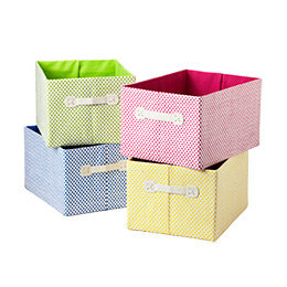 Pink Large Gingham Storage Bin