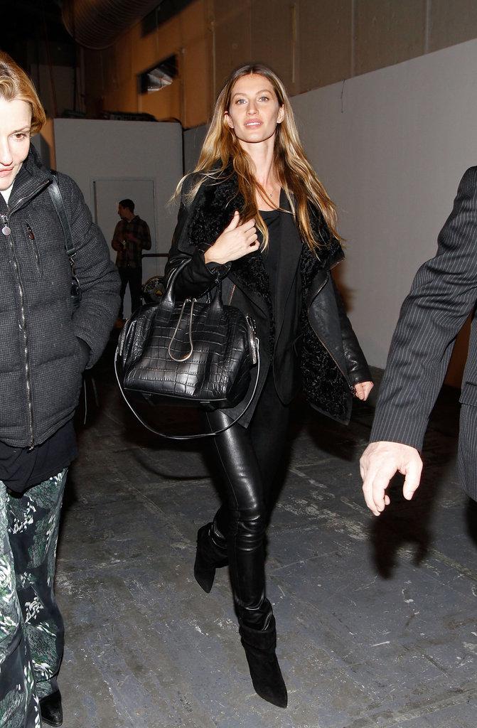 Gisele Bundchen after walking for Alexander Wang.