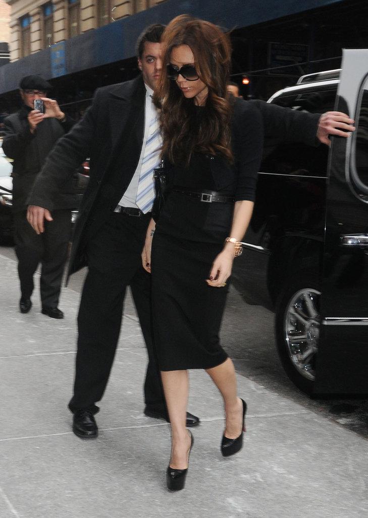 Victoria Beckham wore black to Fashion Week.