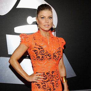 Fergie See-Through Orange Lace Dress Pictures at 2012 Grammy Awards