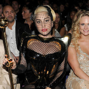 Lady Gaga Black Netting Versace Dress Pictures at 2012 Grammys