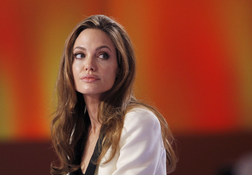 Angelina looked into the crowd before starting the interview.