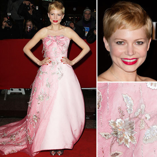 Michelle Williams Wears Pink, Embellished Christian Dior Gown to Paris Premiere of My Week With Marilyn: Rate it?
