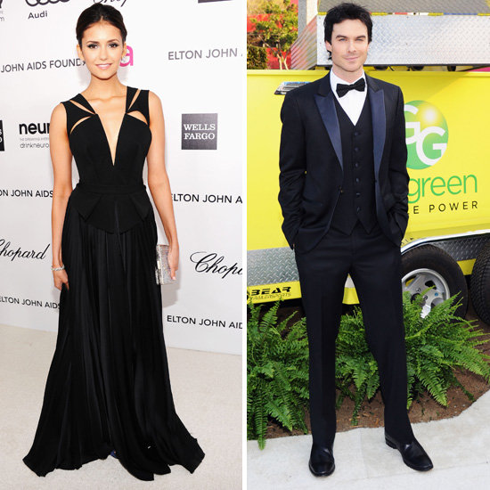 Nina Dobrev and Ian Somerhalder Hit Up Elton John's Oscars Bash