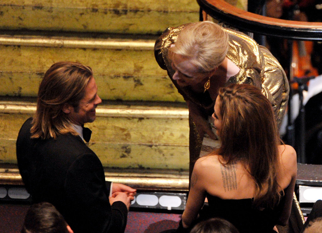 Meryl Streep turns her attention to Brad at the 2012 Oscars.