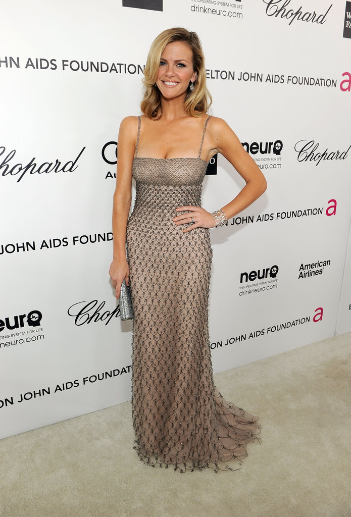 Brooklyn Decker wore a nude Valentino gown with netted overlay to the Elton John viewing party.