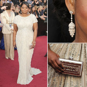 The Help's Octavia Spencer Stays Loyal to Tadashi Shoji Silver Beaded Gown at the 2012 Oscars