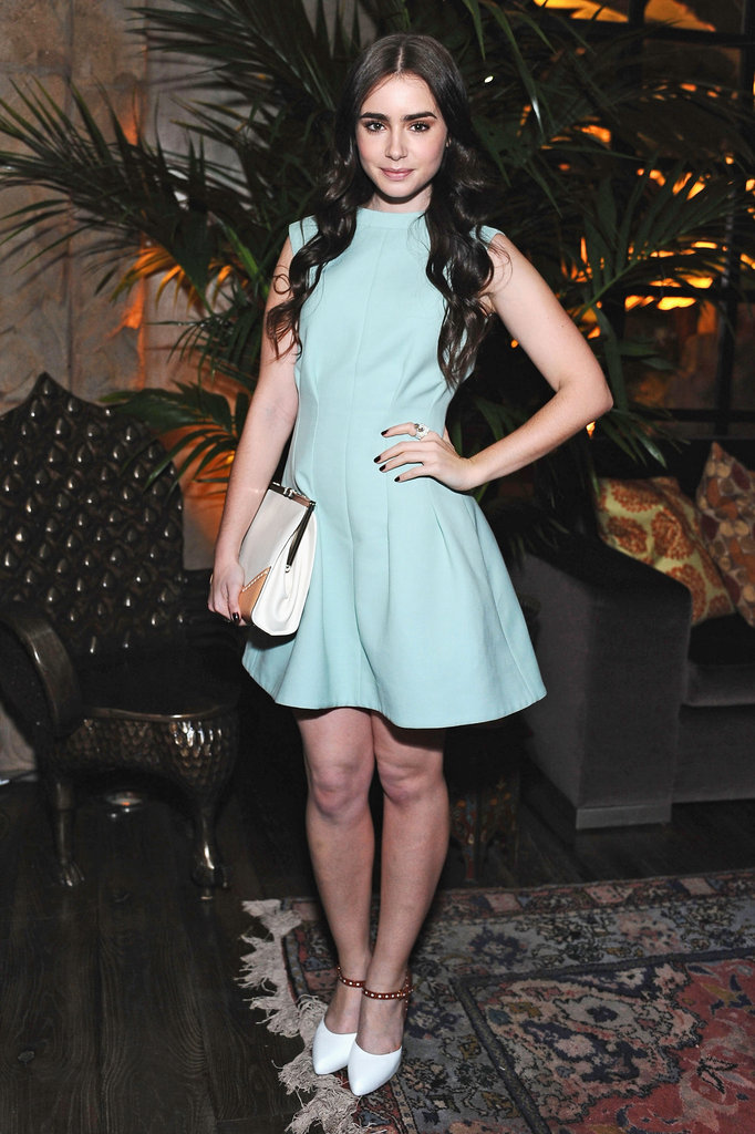 Lily Collins's Marni dress is a perfect rendition of the fit and flare shape.