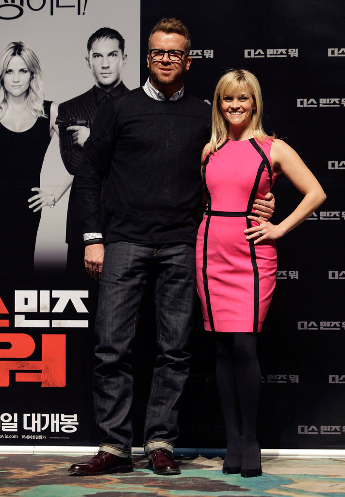 Reese Witherspoon posed with director McG at the Seoul press conference for This Means War.