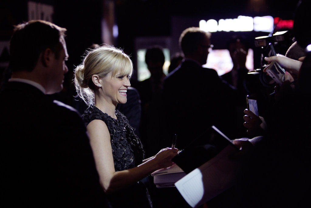 Reese Witherspoon met fans at the Seoul premiere for This Means War.