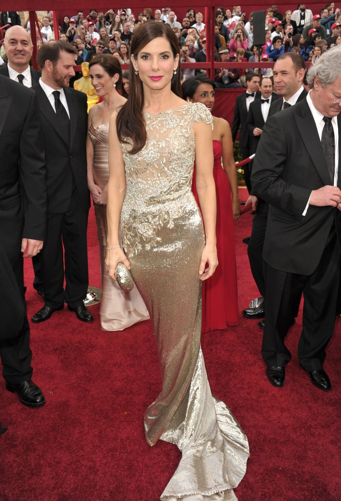 Sandra Bullock donned an elegant Marchesa beaded gown in 2010.