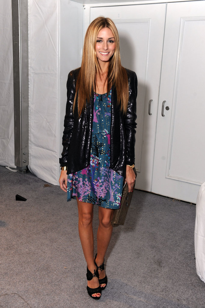 Adding a dose of glam with a sequined jacket for Fashion Week in September '09.