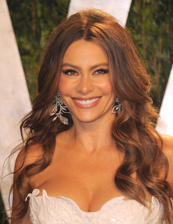 Sofia Vergara up close at the Vanity Fair Oscar party.
