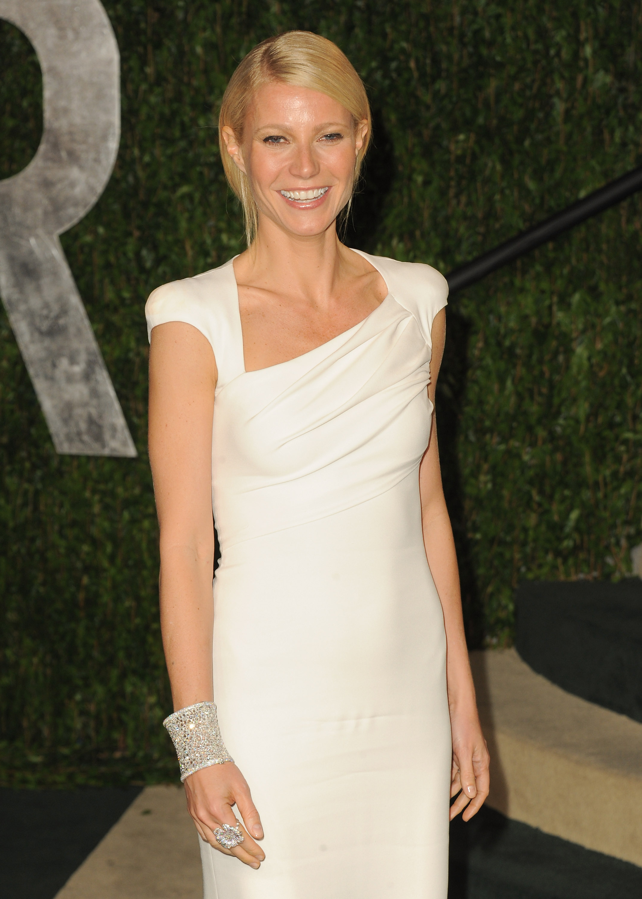 Gwyneth Paltrow in a white Tom Ford gown.