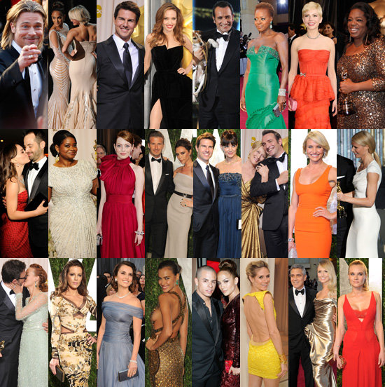 Pictures of Celebrities at the 2012 Oscars Red Carpet, After Party, Press Room: Angelina Jolie, Brad Pitt, Miley Cyrus & More