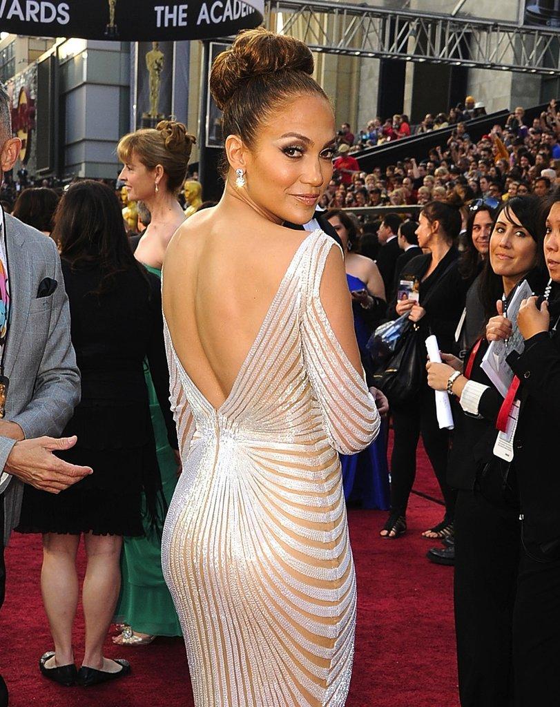 A back shot of Jennifer Lopez's revealing gown.