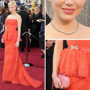 Pictures of Michelle Williams in Coral Red Louis Vuitton Dress on the Red Carpet at the 2012 Oscars