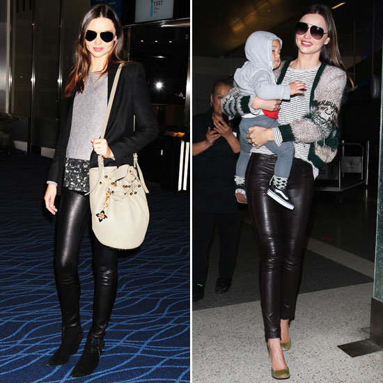 This may just be the key to stealing Miranda Kerr's flawless travel style. We've spotted the model mom on more than one occasion hitting the jetport in a pair of slick leather bottoms. Leather pants offer a cooler finish than average blue jeans — and they're just as functional.  4815029