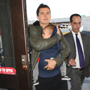 Orlando Bloom, Miranda Kerr and Flynn Bloom at Airport Pictures
