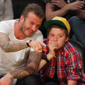 David Beckham at Lakers Game With Brooklyn Pictures
