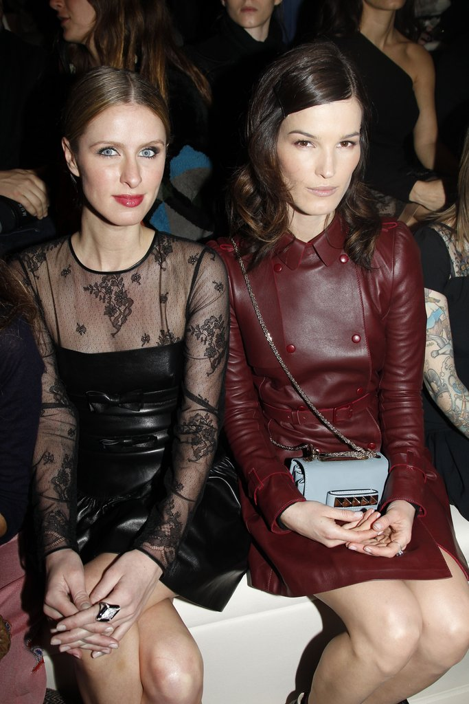 We love Hanneli Mustaparta's merlot leather dress, spotted front row at Valentino.