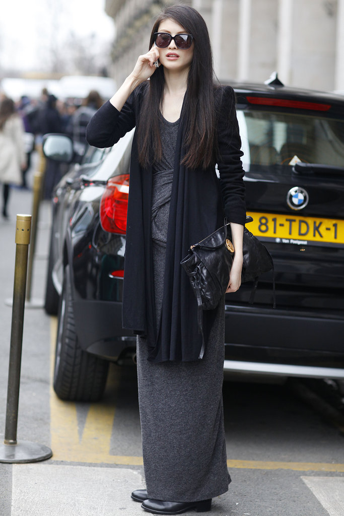 A gray maxi and a long-layered cardigan is relaxed-chic at its best.