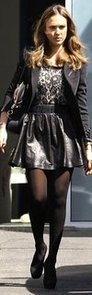 Jessica Alba Leather Skirt