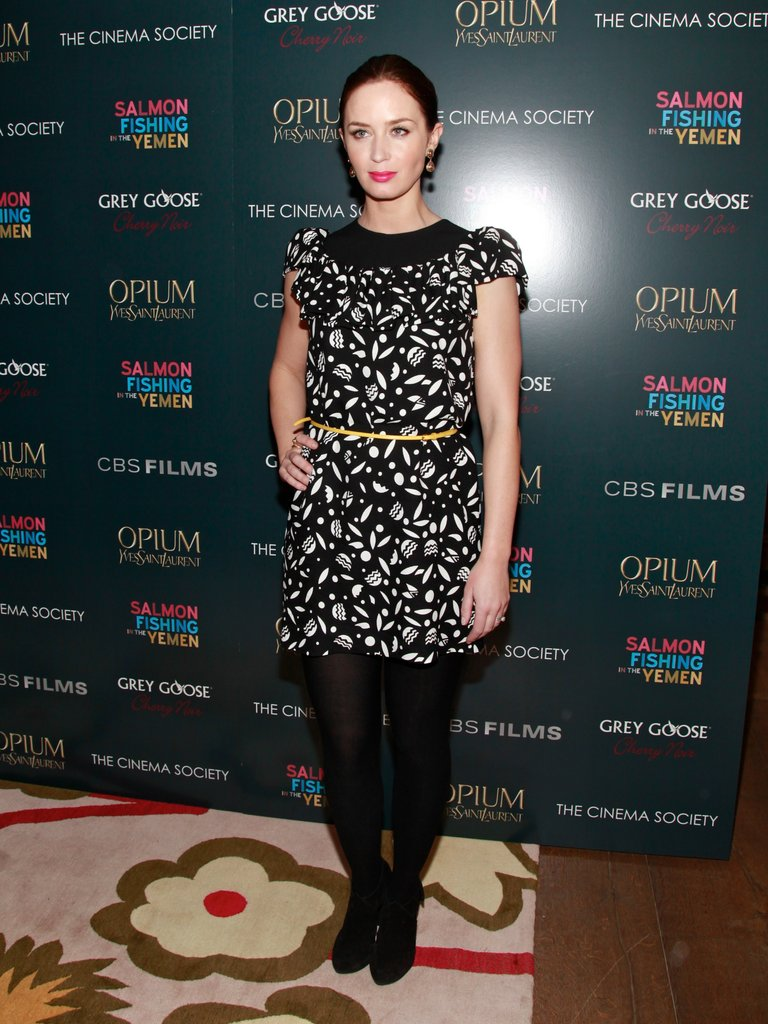 Emily Blunt wore a chic printed dress.