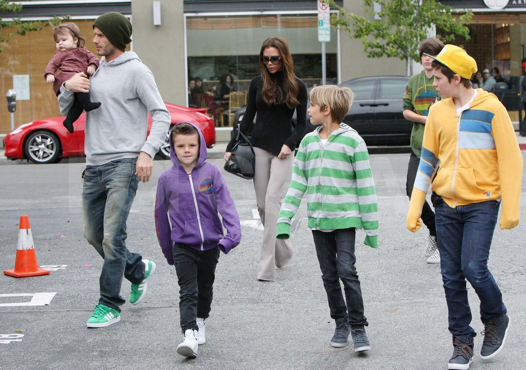 David and Victoria Beckham strolled with their kids in LA.