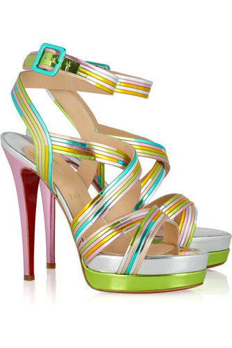 Christian Louboutin | Meteorita 140 metallic leather sandals | NET-A-PORTER.COM