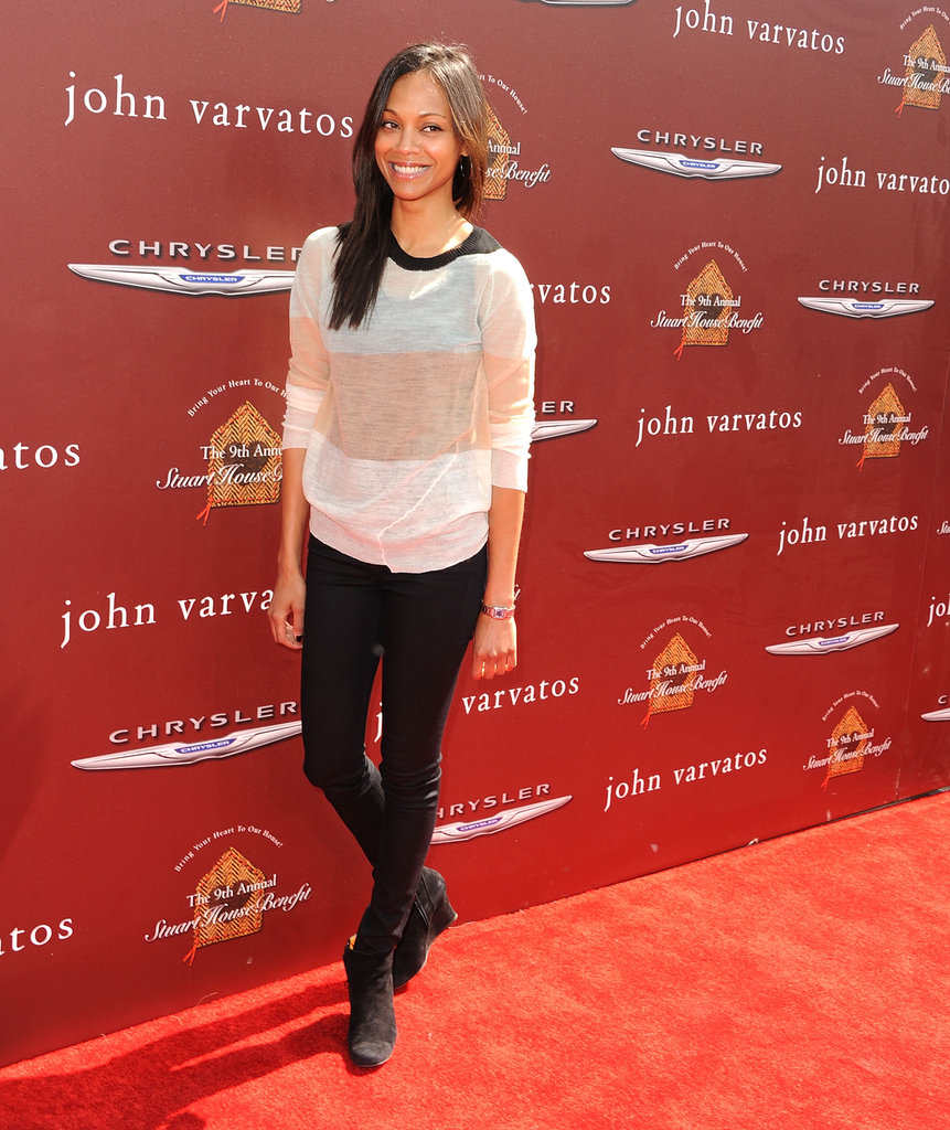 Zoe Saldana hit the red carpet at the John Varvatos Stuart House benefit.
