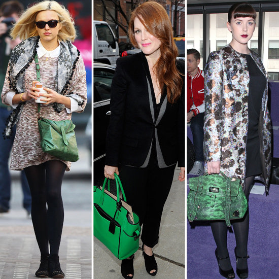 Trendy Green Handbags on Celebrities in 2012