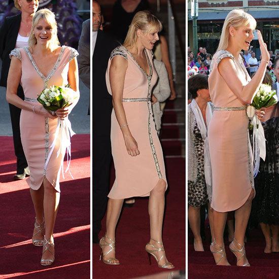Princess Charlene of Monaco Wears a Custom-Designed Johanna Johnson at Grace Kelly: Style Icon Exhibition in Bendigo, Australia