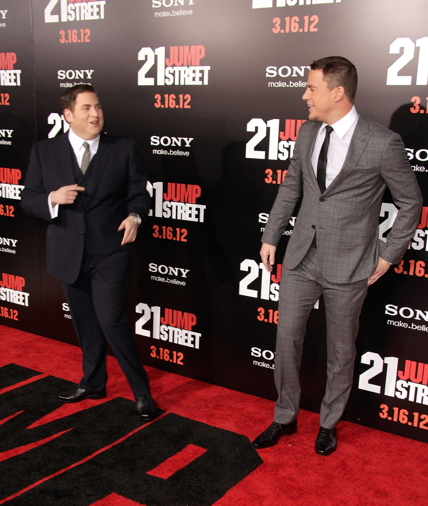 Jonah Hill and Channing Tatum joked around at the premiere.