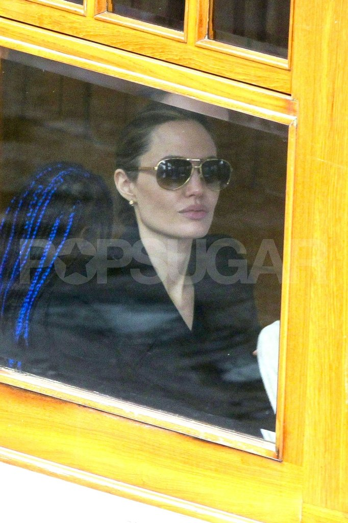 Angelina Jolie on an Amsterdam canal boat.