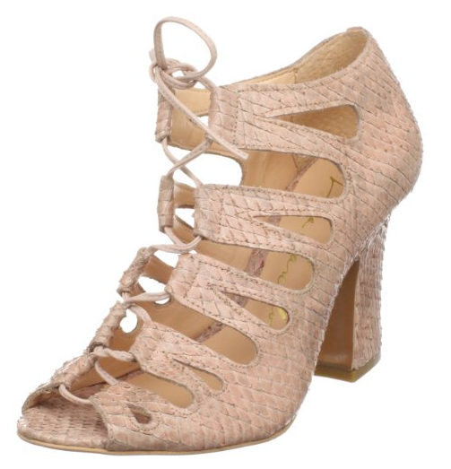 We can't get enough of this sultry-sweet gladiator-style bootie. The snakeskin texture adds an extra dose of cool — just add a Spring floral into the mix for ultrafemme results. Luiza Barcelos Women's SY015 bootie ($115)
