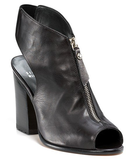 The ankle strap and front zipper detail add a downtown edge. Stuart Weitzman Zipcode Peep Toe Booties ($398)