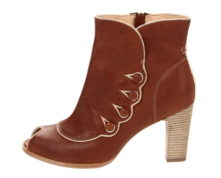 With the updated take on Western wear taking Spring '12 sensibility by storm, we think this quirky pair offers up a vintage-inspired feel that nails the trend. Timberland Boot Company Marge peep-toe bootie ($115)