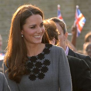 Kate Middleton Wears Gray Orla Kiely Dress in London